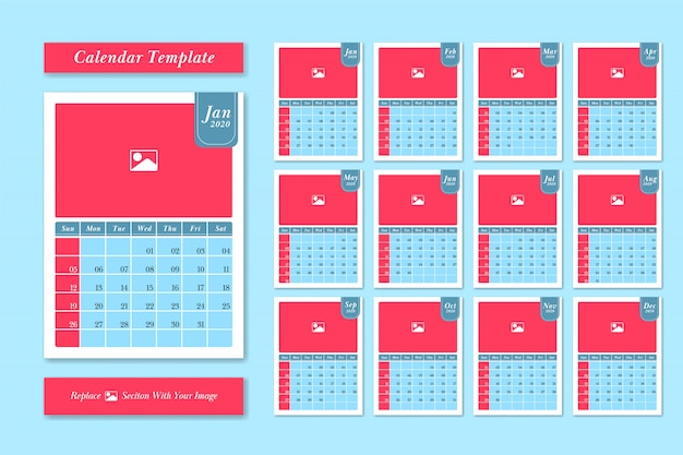 2020 calendar template design vector set in pastel cute color style Premium Vector