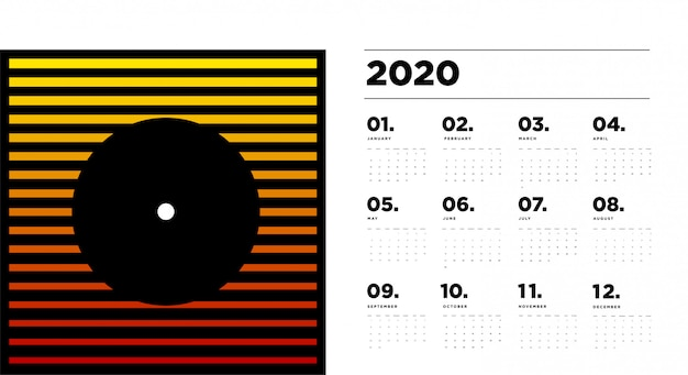 2020 calendar  template with colourful abstract geometric background Premium Vector