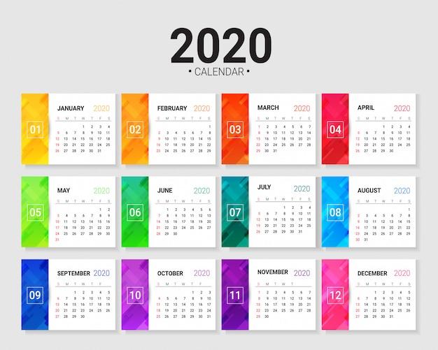 2020 calendar template Premium Vector