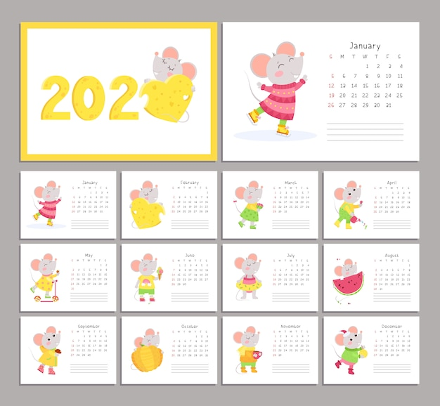2020 calendar with mice flat vector templates set Premium Vector
