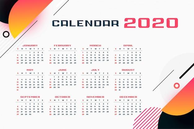 2020 calendar Free Vector