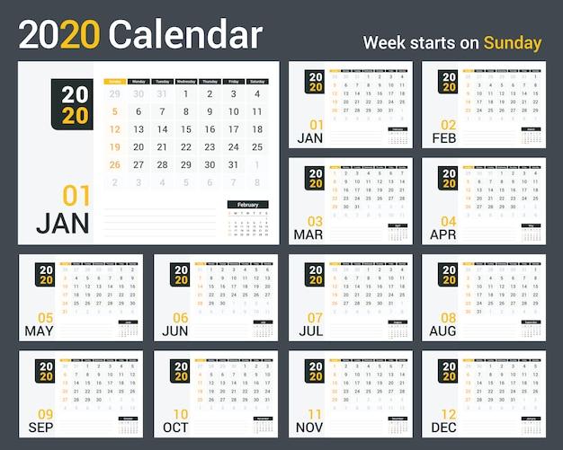 2020年カレンダー Premiumベクター