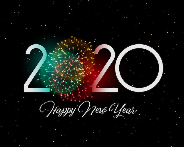 2020 celebration fireworks new year style card design Free Vector
