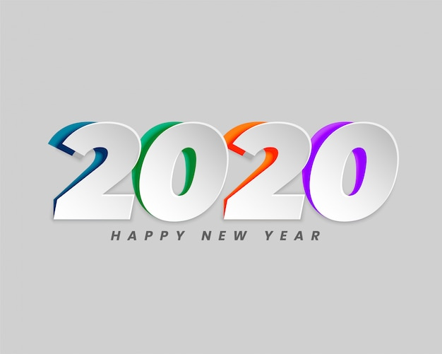 2020 in creative paper cut style background Free Vector
