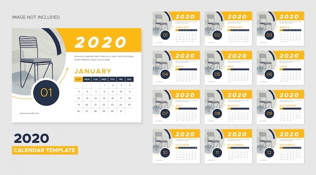 2020 desk calendar template Premium Vector