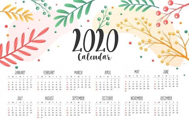 2020 flower and leaves style calendar design template Free Vector