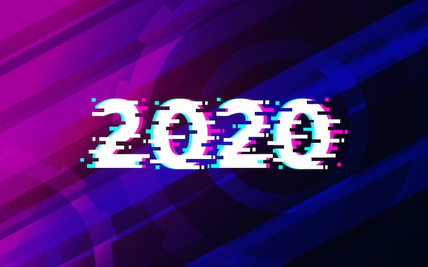 2020 glitch text on abstract technology futuristic background  design. Premium Vector