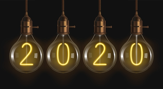 2020 glowing numbers inside of filament bulbs Free Vector
