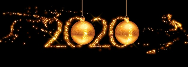 2020 golden new year banner with flying sparkles Free Vector