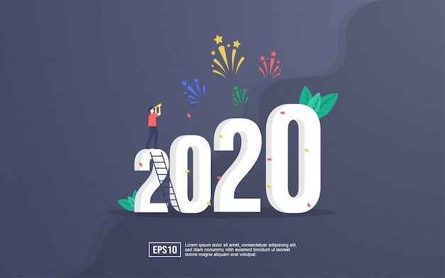 2020 greeting card with people celebrating new year and watching firework explosions in the sky at night Premium Vector