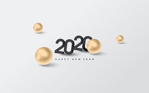 2020 happy birthday background with black numbers and with illustrations of golden dots Premium Vector