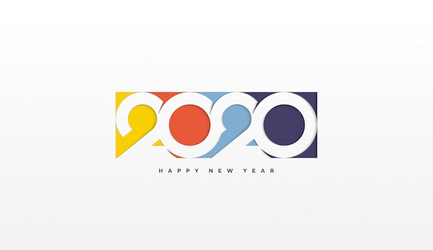 2020 happy birthday background with colorful illustrations in 2020 Premium Vector