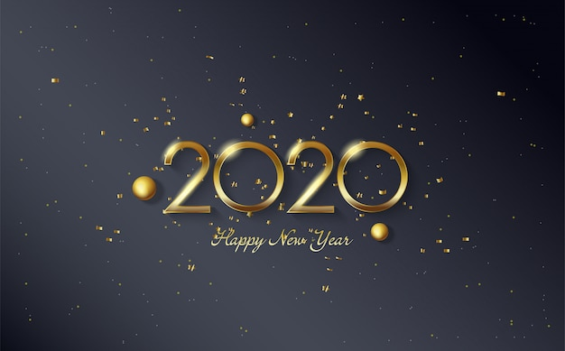 2020 happy birthday background with gold beads and gold colored figures Premium Vector