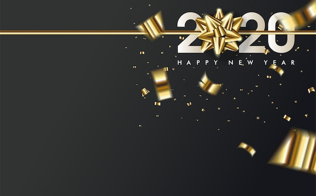2020 happy birthday background with a gold ribbon above the white 2020 number Premium Vector