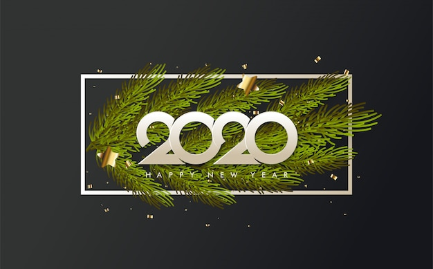2020 happy birthday background with illustrations of pine leaves under white numbers Premium Vector