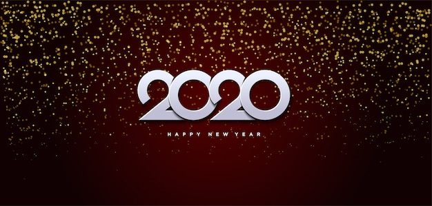 2020 happy birthday background with small beads of gold scattered from above behind the white numbers Premium Vector