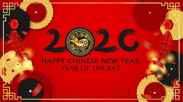 2020 happy chinese new year background.  with chinese paper fan and firecrackers .paper art style. happy rat year. . Premium Vector