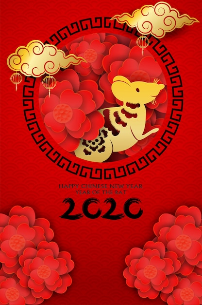 2020 happy chinese new year design with flowers and rat Premium Vector