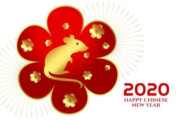 2020 happy chinese new year of the rat festival Free Vector