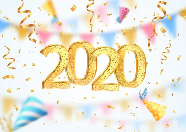 2020 happy new year celebration vector illustration. christmas banner with blur effect Premium Vector