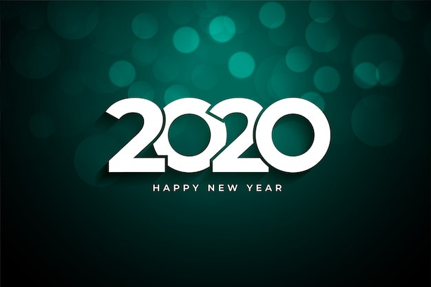 2020 happy new year creative  greeting Free Vector