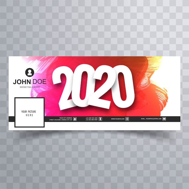 2020 happy new year facebook cover Free Vector