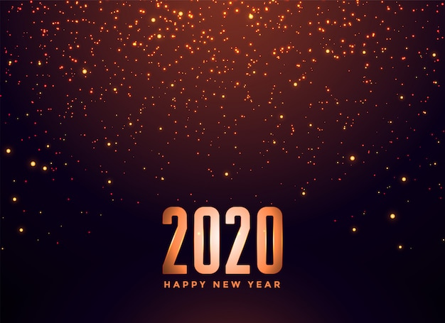 2020 happy new year falling sparkles background Free Vector