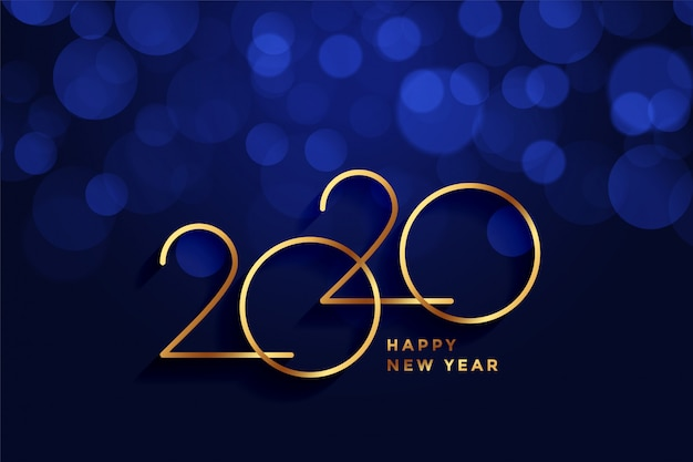 2020 auguri di felice anno nuovo oro e blu bokeh Vettore gratuito