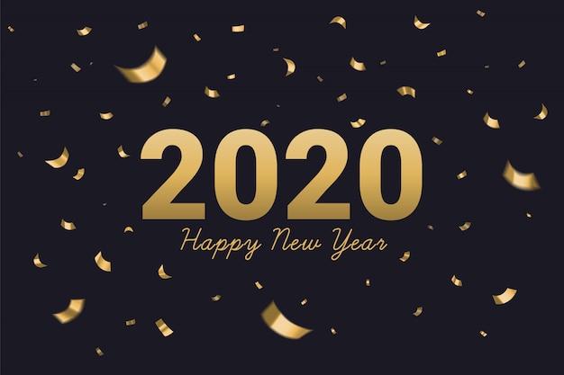 2020新年あけましておめでとうございますゴールデンテキスト Premiumベクター