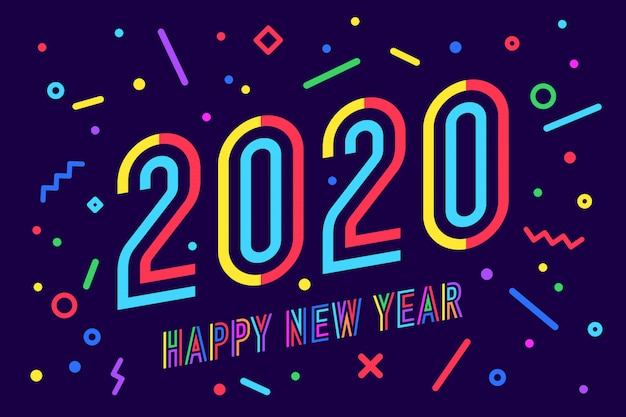 2020, happy new year. greeting card happy new year Premium Vector