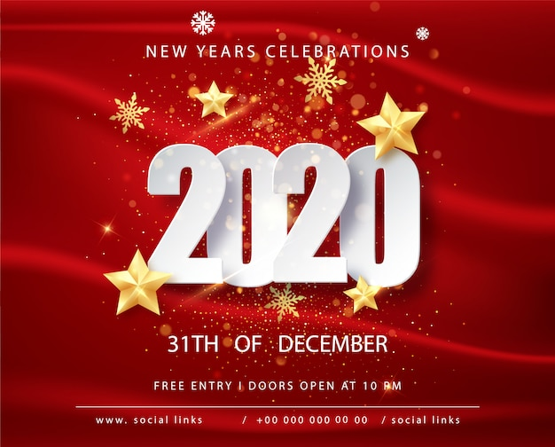 Red Frames 2020 Christmas Picture Frames Premium Vector | 2020 happy new year greeting card with confetti
