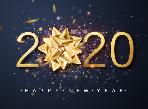 2020 happy new year greeting card with golden gift bow, confetti, white numbers. Premium Vector