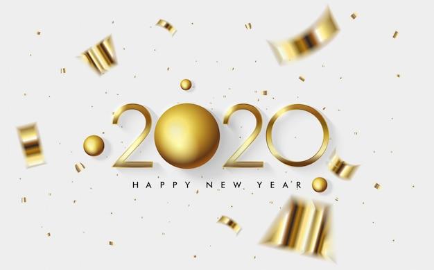 2020 happy new year greeting card Premium Vector