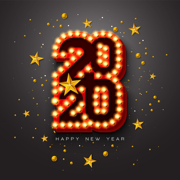 2020 happy new year illustration with 3d light bulb typography lettering and christmas ball on black background. Free Vector