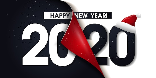 New 1040 For 2020.2020 Happy New Year Promotion Poster Or Banner With Open