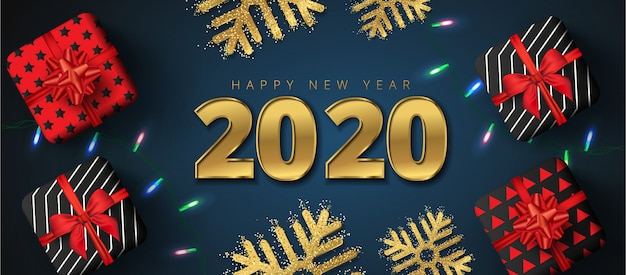 2020 happy new year sale lettering, gift boxes, gold snowflakes and sparkling light garlands Premium Vector