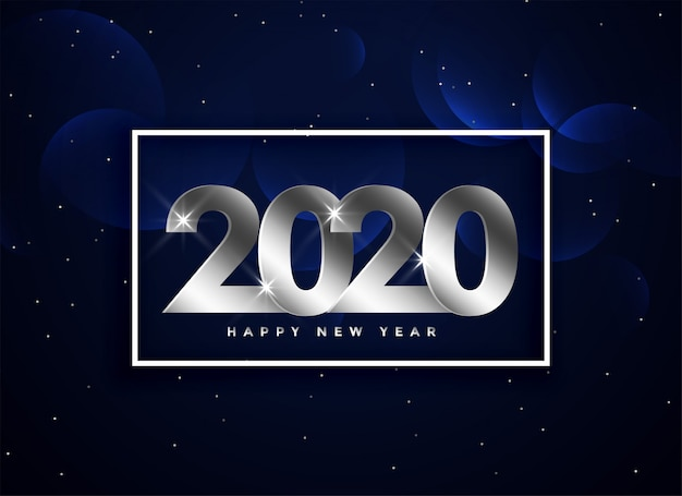 2020 happy new year silver greeting background Free Vector