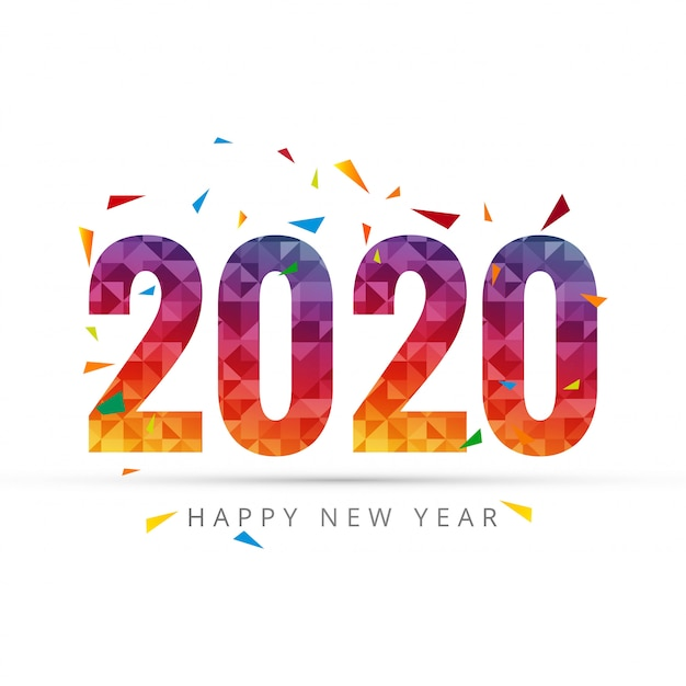 2020 happy new year text for greeting card Free Vector