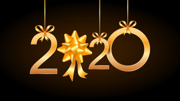 2020 happy new year vintage card with hanging golden numbers and ribbon gift bow. Premium Vector