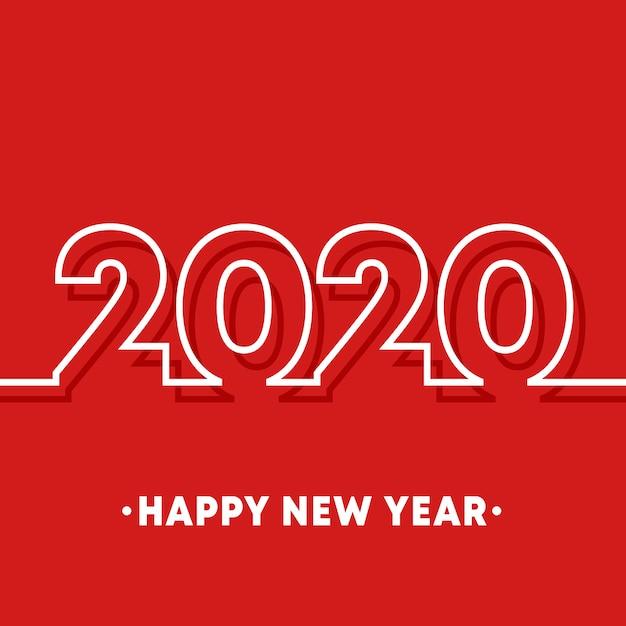 2020 happy new year Premium Vector