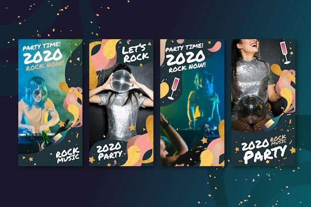 新年2020パーティーのコレクションinstagramの投稿 無料ベクター