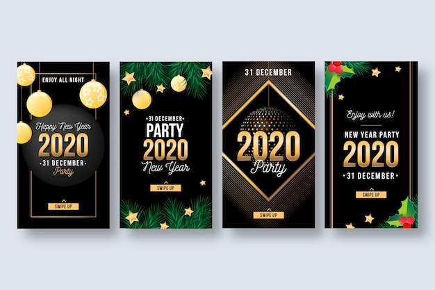 新年2020パーティーinstagramストーリーコレクション 無料ベクター