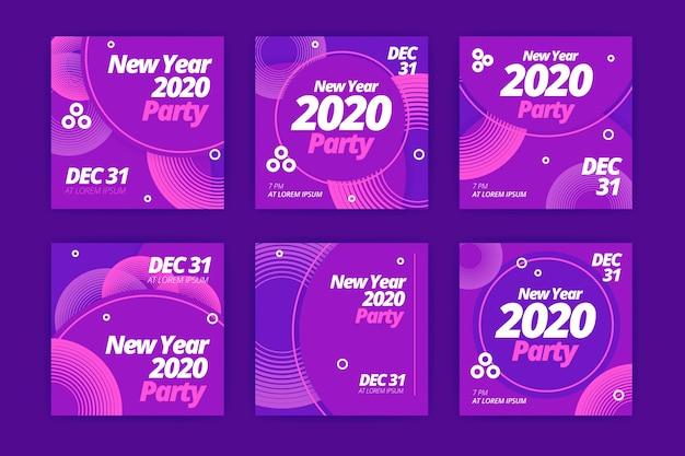 新年2020パーティーinstagramポストセット 無料ベクター