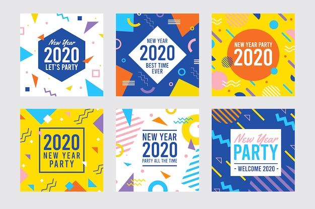 新年2020パーティーinstagram投稿コレクション 無料ベクター