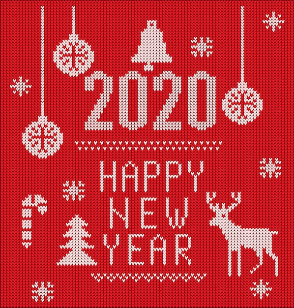 2020 knitted font, elements and borders for christmas, 2020 new year or winter design Premium Vector