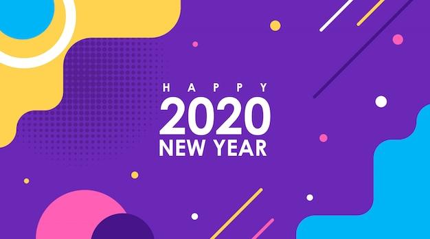 Современная квартира с новым годом 2020 в memphis design Premium векторы