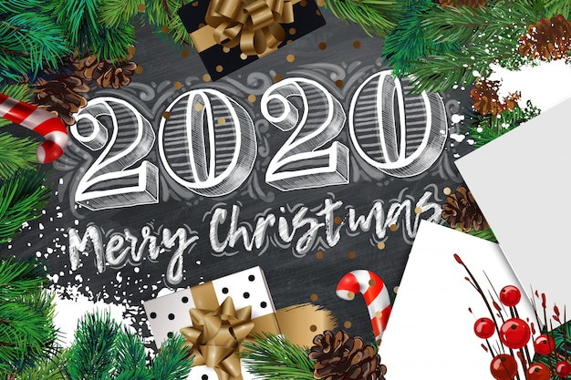 New 1040 For 2020.2020 Merry Christmas And Happy New Year Banner Vector