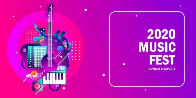 2020 music banner template Premium Vector