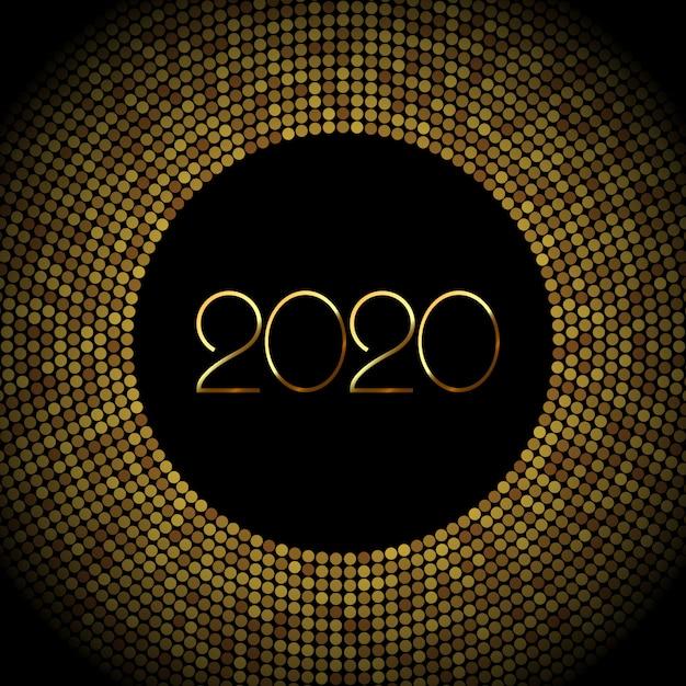 2020 new year background with gold glitter confetti Premium Vector