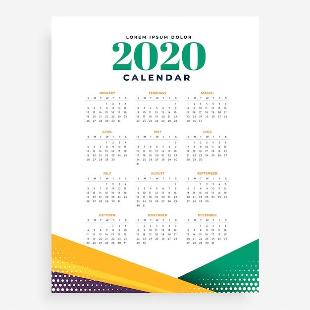 2020 new year calendar template Free Vector